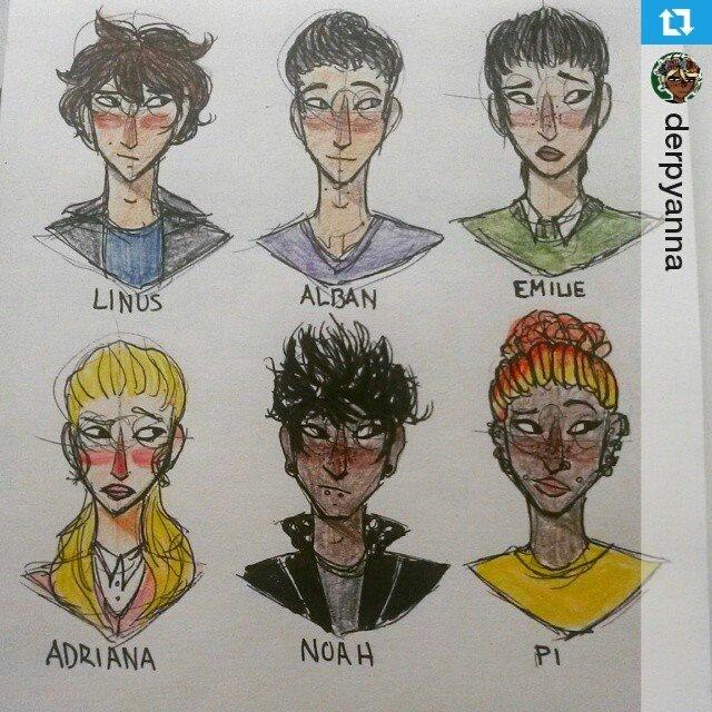 Fanart af hovedpersonerne fra SPEKTRUM-universet, heriblandt Alban. Tegnet af @derpyanna på Instagram.